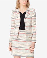 Tahari ASL Petite Wing-Collar Tweed Blazer
