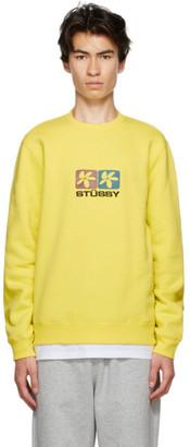 Stussy Yellow 2 Flowers Crew Sweatshirt