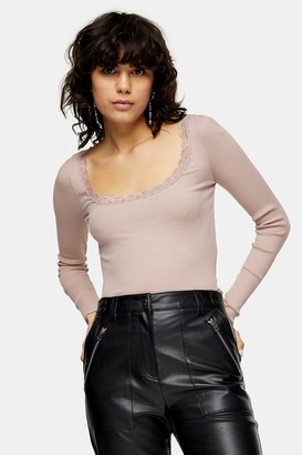 Topshop TALL Long Sleeve Lace Top
