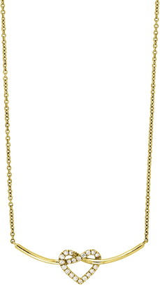 Bony Levy 18K Yellow Gold Pave Heart Diamond Heart & Curved Bar Pendant Necklace