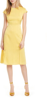Ted Baker Short Sleeve Jacquard Mid Dress