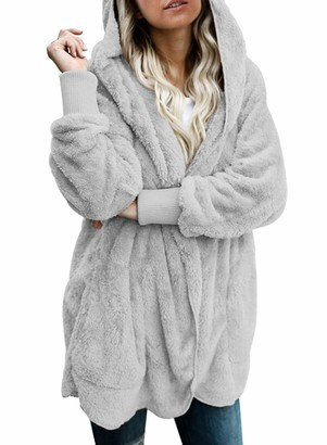 Actloe Women Open Front Hooded Long Sleeve Cardigan Fleece Outwear with Pocket Gray X-Large
