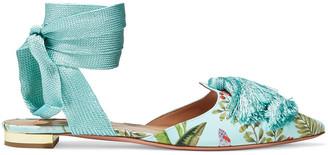 Aquazzura + De Gournay Amazonia Love Tassel Embroidered Printed Crepe Point-toe Flats