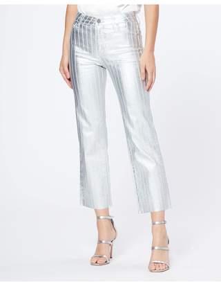 Paige Atley Ankle Flare Hem - Silver Coated Stripe