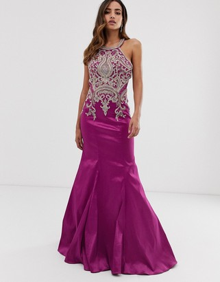Jovani fishtail maxi dress with embellished detail-Red