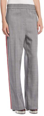 Calvin Klein Wide-Leg Check Wool Pull-On Pants w/ Side Stripe