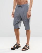 Asos Drop Crotch Swim Shorts In Dark Gray