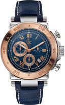 Gc X90015G7S rose gold-plated stainless steel and leather watch