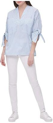 Calvin Klein V-Neck Pullover Blouse (Cashmere White) Women's Clothing