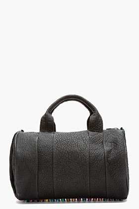 Alexander Wang Black Rubberized Leather Iridescent Rocco Duffle Bag
