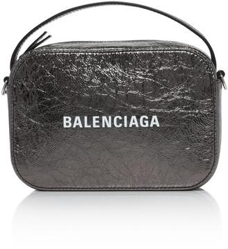 Balenciaga Printed Metallic Textured-Leather Top Handle Bag