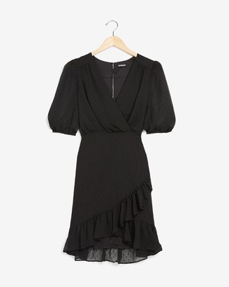 Express Clip Dot Wrap Front Sheath Dress