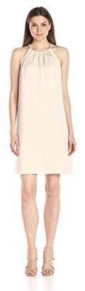 Lark & Ro Women's Sleeveless Tie Neck Shift Dress
