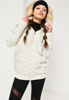 Missguided Ruched Parka Jacket Cream