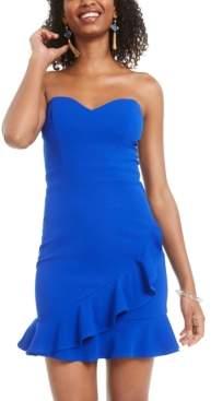 B. Darlin Juniors' Strapless Flounce Bodycon Dress, Created for Macy's