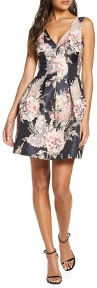 Vince Camuto Floral Jacquard Fit & Flare Dress