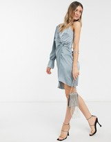 Thumbnail for your product : Little Mistress one shoulder twist detail satin dress in teal grey