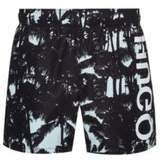 Hugo Quick-dry printed swim shorts with reversed logo