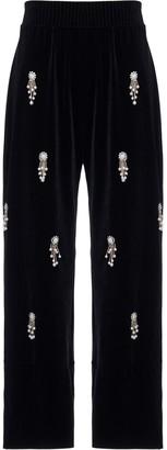 PatBO Beaded Velvet Trousers