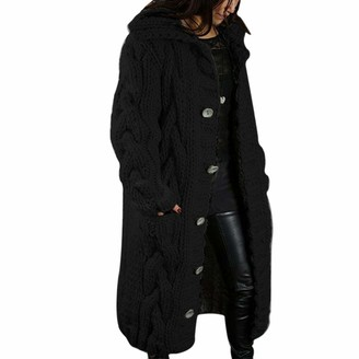 OZZlOR Women Chunky Kint Long Cardigan Open Front Sweaters Long Sleeve Oversized Thicken Coat Soft Warm Sweater Jacket with Pockets Buttons(Black5XL)