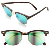 Ray-Ban Men's 'Flash Clubmaster' 51Mm Sunglasses - Tortoise/ Blue Mirror