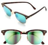 Ray-Ban Men's 'Flash Clubmaster' 51Mm Sunglasses - Tortoise/ Blue Mirror
