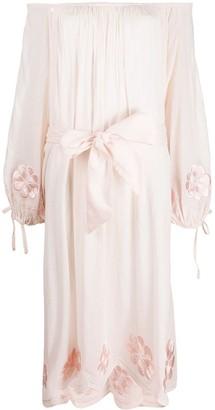Innika Choo Floral Embroidered Linen Dress
