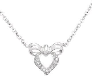 La Preciosa Sterling Silver Micro Pave Cubic Zirconia Heart and Bow Necklace