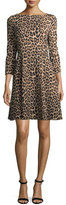 Kate Spade Leopard-Print 3/4-Sleeve A-Line Ponte Dress