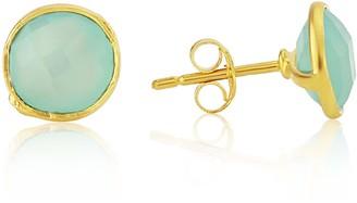 Auree Jewellery Savanne Gold Vermeil & Aqua Chalcedony Stud Earrings