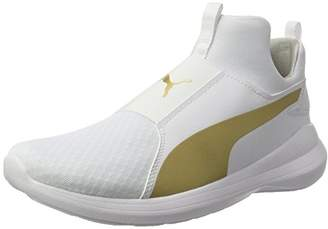 Puma Women's Rebel Mid Hi-Top Trainers, White (White-Team Gold), 7