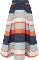 Whistles Stripe Jacquard Midi Skirt