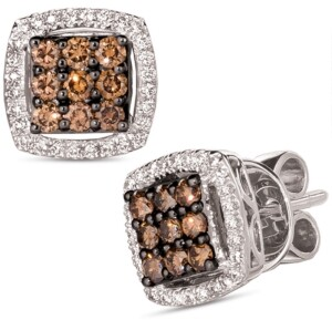 LeVian Le Vian Chocolate Diamond (3/8 ct. t.w.) & Nude Diamond (1/4 ct. t.w.) Square Cluster Stud Earrings in 14k White Gold