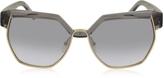 Chloé DAFNE CE 665S 036 Gray Acetate and Gold Metal Geometric Women's Sunglasses