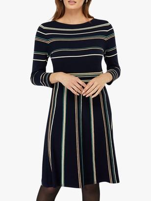 Monsoon Ayanna Stripe Dress, Navy