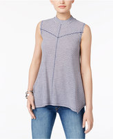 Style&Co. Style & Co Striped Mock-Neck Top, Created for Macy's