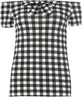 Gingham bow bardot top
