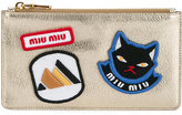 Miu Miu badge embroidered pouch - women - Leather - One Size