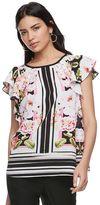 Elle Women's ELLETM Floral Striped Flutter Top