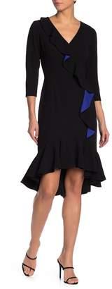 Shani V-Neck Ruffle Trim Crepe Dress
