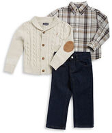 Nautica Boys 2-7 Cable-Knit Sweater, Plaid Sportshirt and Jeans Set