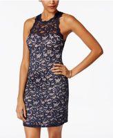 Sequin Hearts Juniors' Lace Illusion Bodycon Dress