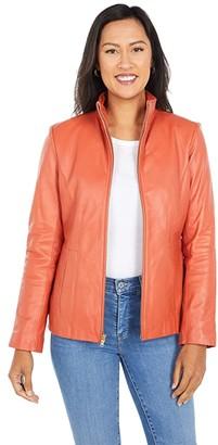 Cole Haan Lamb Leather Zip Front Jacket (Cinnabar) Women's Jacket