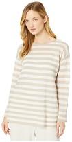 Eileen Fisher Organic Linen Cotton Crew Neck Tunic (Natural/White) Women's Clothing