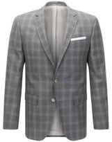 HUGO BOSS Hutson Slim Fit, Windowpane Italian Wool Sport Coat 38R Grey