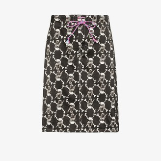 Ashley Williams Skull Print Silk Skirt