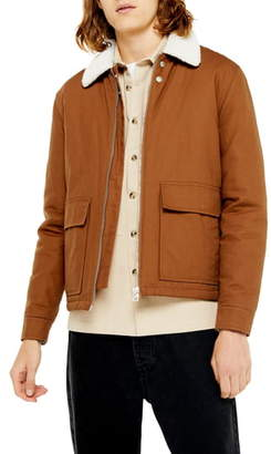 Topman Faux Fur Borg Collar Coach Jacket