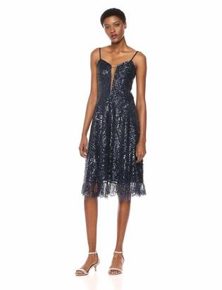 Dress the Population Women's Leona Sleeveless Beaded FIT & Flare MIDI Dress