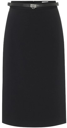 Salvatore Ferragamo Stretch-cady midi skirt