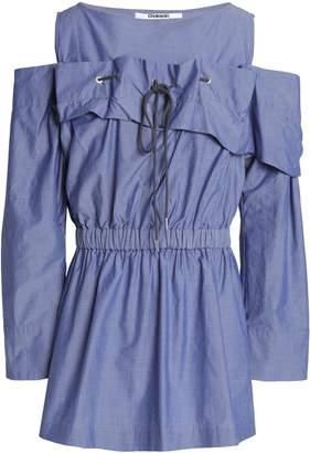 Chalayan Cold-shoulder Gathered Cotton-chambray Top